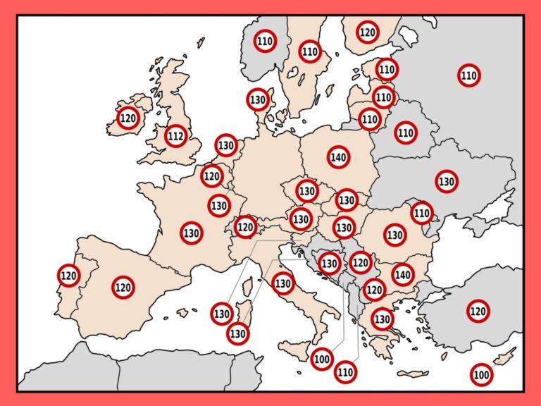 Tempolimits für Wohnmobile und Wohnwägen in Europa
