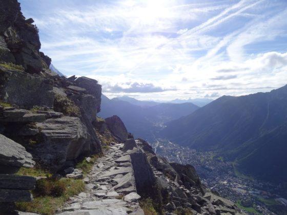 Weg über Le Signal - Blick ins Arvetal und auf Chamonix