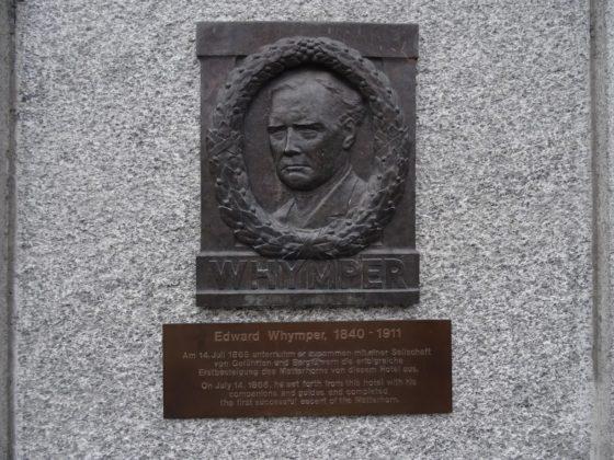Gedenktafel Edward Whympers, dem Erstbestiger des Matterhorns, in Zermatt