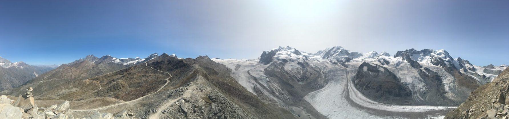 Panorama am Gornergrat, im Hintergrund Lieskamm und Monte-Rosa Massiv