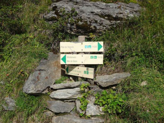 Wegweiser zwischen Plan de Aiguille und Montenvers