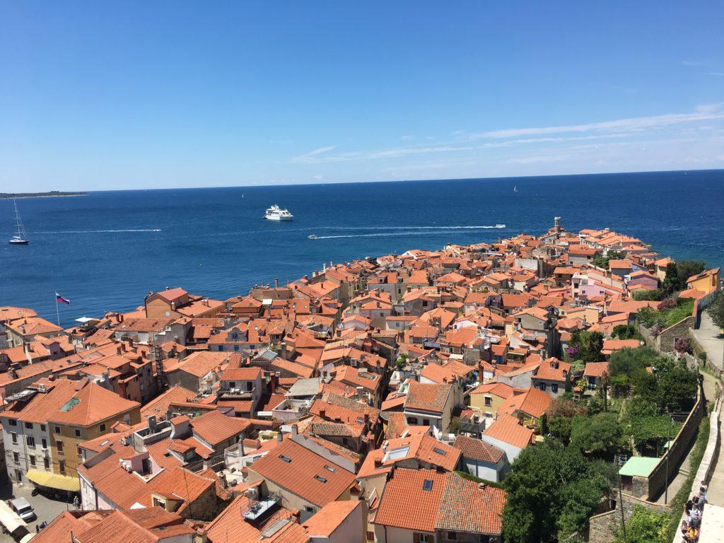 Blick vom Campanile auf Piran